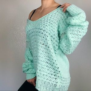 NWT Free People Mint Oversized Chunky Sweater